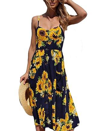 Summer Beach Dress Women Plus Size Dress Midi Floral Sunflower Dress  Backless for Ladies Party Evening Dress