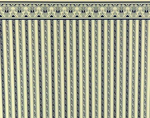 Melody Jane Dollhouse Blue Cream Regency Stripe Miniature Print Wallpaper 1:12 (Regency Stripe)