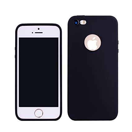 Funda iPhone 5S,RUIST Shock-Absorción Anti-Arañazos Ultra Delgada TPU Funda de Silicona Cover para Apple iPhone 5 / 5S Carcasa Soft Case Cover - Negro