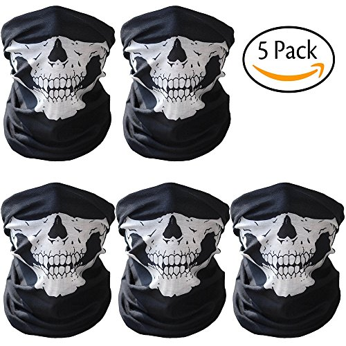 Cod Ghost Costume (Face Mask, Mitsutomi Skull Half Face Mask Bicycle Ski Ghost Scarf Multi Use Neck Warmer COD (5))