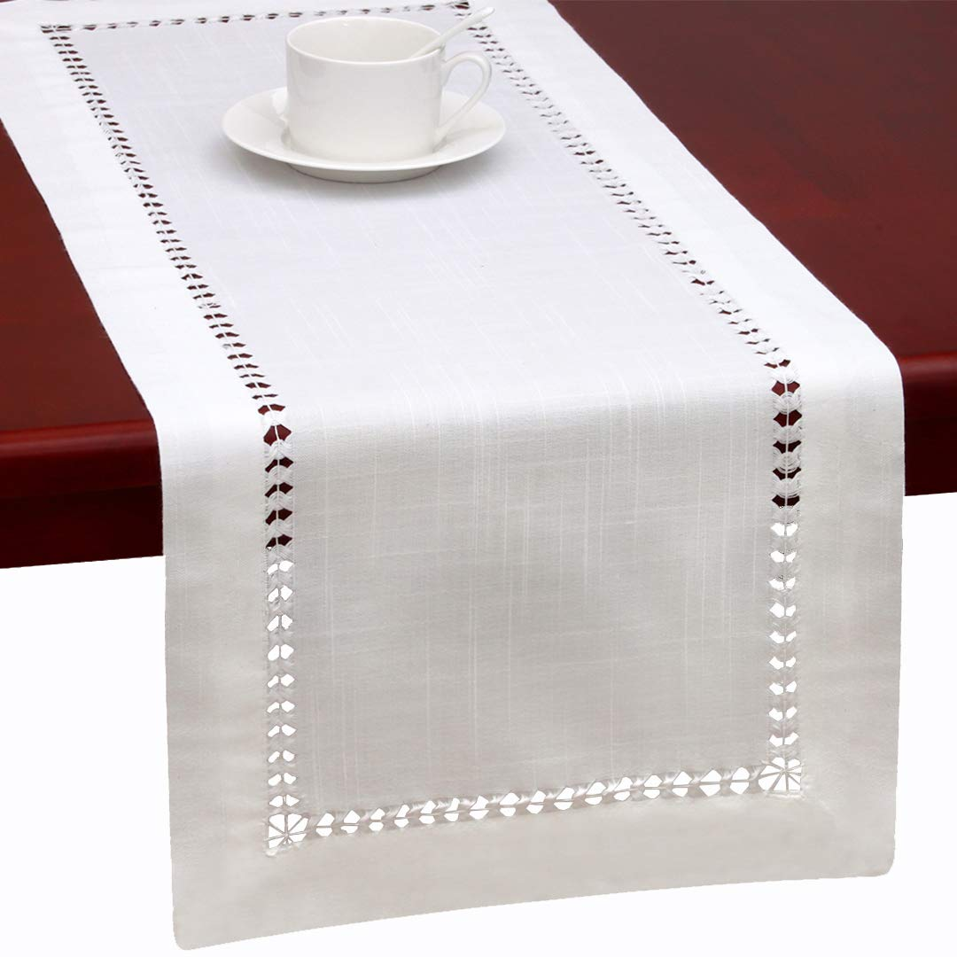 Grelucgo Handmade Hemstitched Natural Rectangle White Lace Table Runners (14x72 inch)
