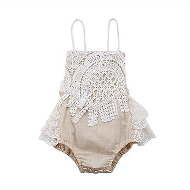 8c6f68c74128 Newborn Infant Baby Girl Clothes Lace Halter Backless Jumpsuit Romper  Bodysuit Sunsuit Outfits Set