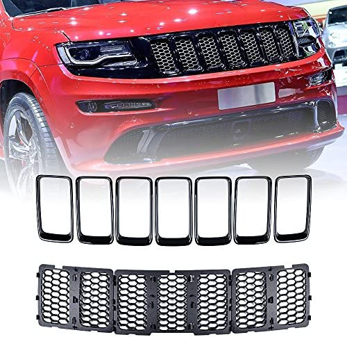 Honeycomb Insert Grill, Grand Cherokee Anzio Set Front Grille Inserts w//Cover Compatible with 14-16 Grand Cherokee