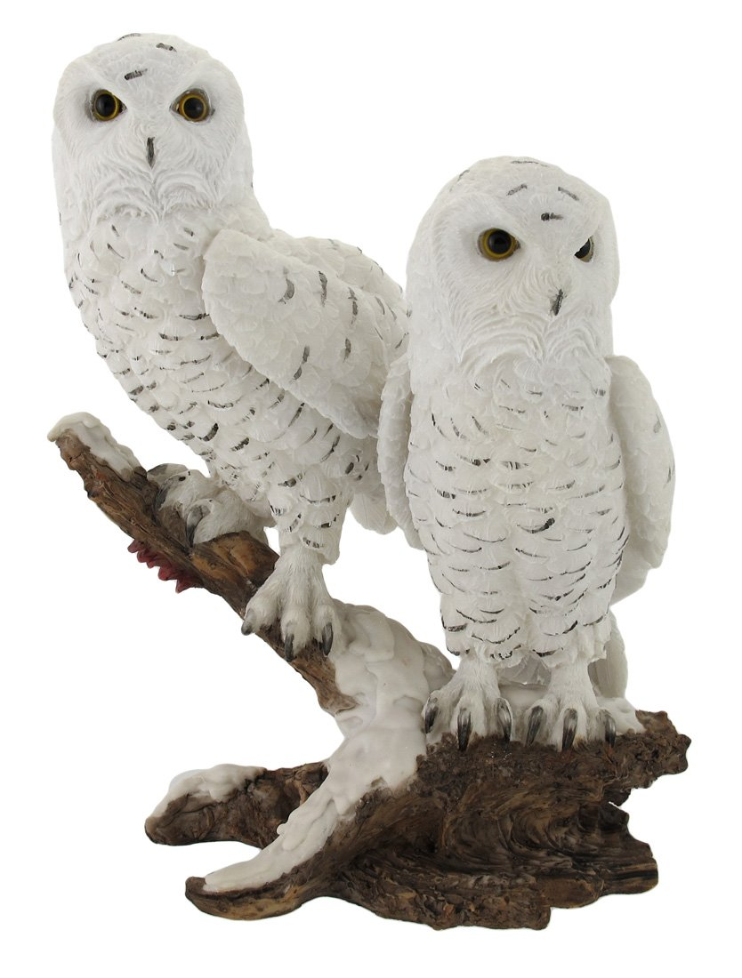 Things2Die4 Pair of Snow Owls on a Branch Statue