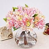 Winterworm Lot of 3 Artificial Silk Dahlia Flower Bouquet Wedding Party Home Office Garden Restaurant Decoration (Pink)