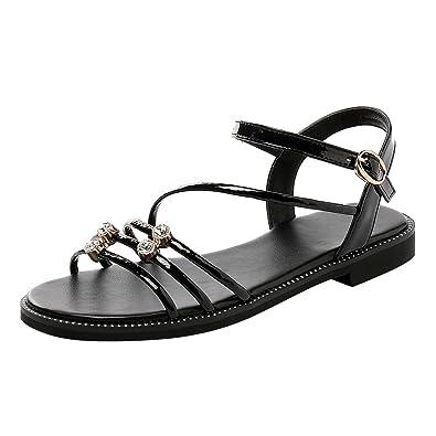 YE Damen Flache Plateau Sandalen mit Riemchen Glitzer Sandaletten Bequem  Sommer Schuhe b755411427