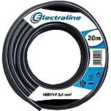 Electraline 11405, Cable para Extension Electrica H05VV-F, Sección 2G1 mm, 20 mt, Negro