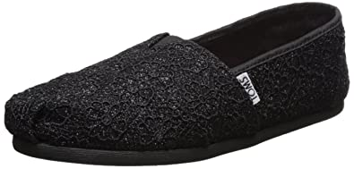 Toms 10009295 Black Crochet Glitter Alpargata Flat Black 7 Bm Us