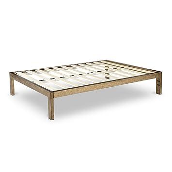 the frame gold brushed steel frame platform metal bed framemattress foundation no boxspring - Platform Metal Bed Frame