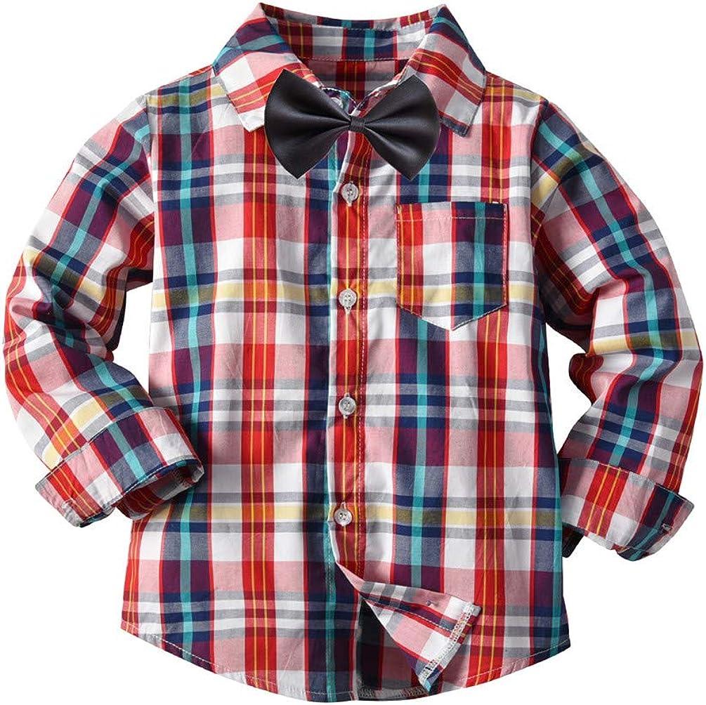 NSEPLSKTS Baby Cotton Long-Sleeve Shirt Turn-Down Collar Boys Plaid Shirt