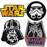 (US) Set of 4 - Star Wars Iron on Embroidered Patches Super Saving Pack