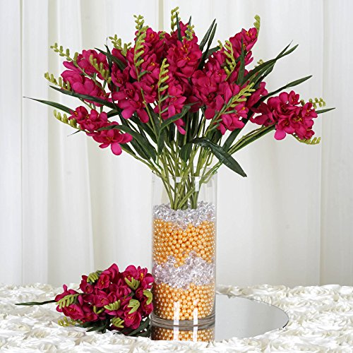 BalsaCircle 216 Fuchsia Silk Freesia Flowers - 4 Bushes - Artificial Flowers Wedding Party Centerpieces Arrangements Bouquets (Bouquet Freesia Wedding)