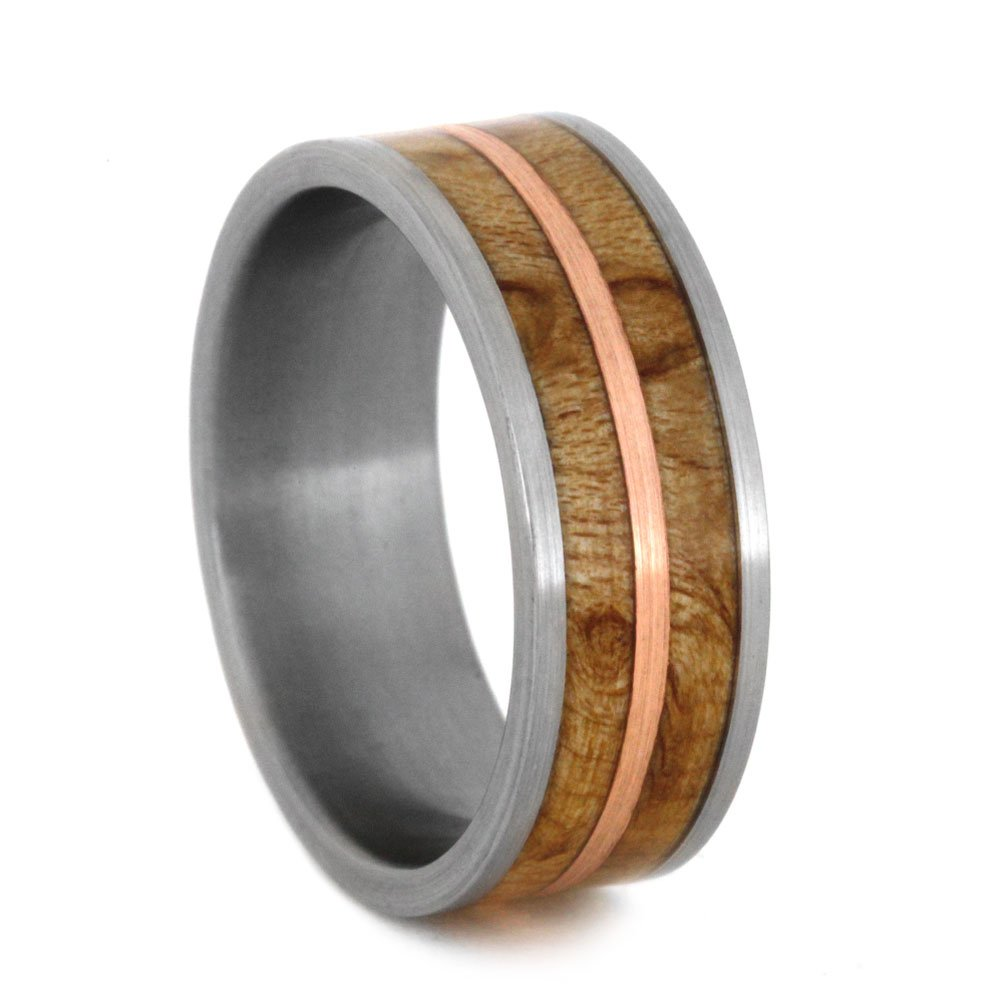Birds Eye Maple with Copper Inlay 8mm Comfort-Fit Brushed Titanium Wedding Band, Size 13.25