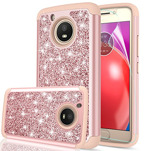 Moto E4 Case (USA Version) (Not Fit Moto E4 Plus) with HD Screen Protector,LeYi Glitter Bling Girls Women Heavy Duty Shockproof Protective Phone Case for Motorola Moto E (4th Generation) FZ Rose Gold (Cases Phone Motorola Girls For)