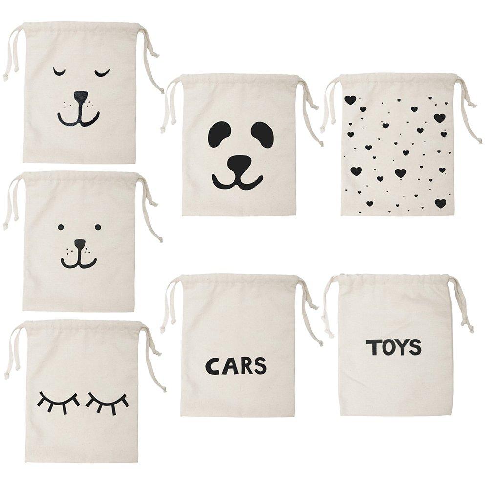 PanDaDa Sac de Rangement Pochette avec Cordon Toile en Coton Sacs de Voyage pour Enfant Panda, sans Oreilles