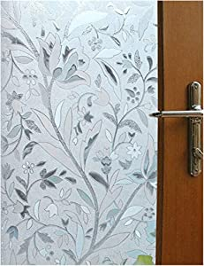 Vakker Bahay 35.5 x 78.7 Inches (90CM by 200CM) Non Adhesive Front Sliding Door Glass Film Home Office Shower Privacy Window Covering Sun Reflect Static Cling Decorative Stained Window Glass Film