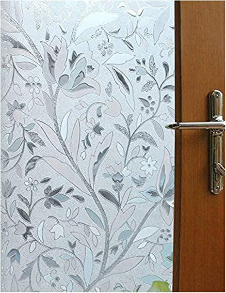 vakker bahay 35 5 x 78 7 inches non adhesive front sliding door opaque glass film home office shower privacy window covering sun reflect static cling