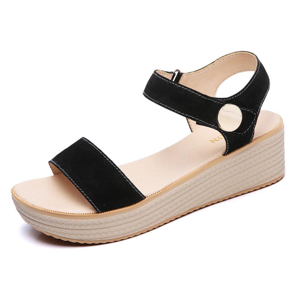 Womens Mid Heels Runde Kopf Keil Wasserdicht Plattform Sommer Mode Asakuchi Sandalen  UK/EU36|A