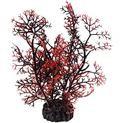 TOOGOO(R) Aquarium Aquascaping Artificial Plant Decor, Dark Brown/ Red