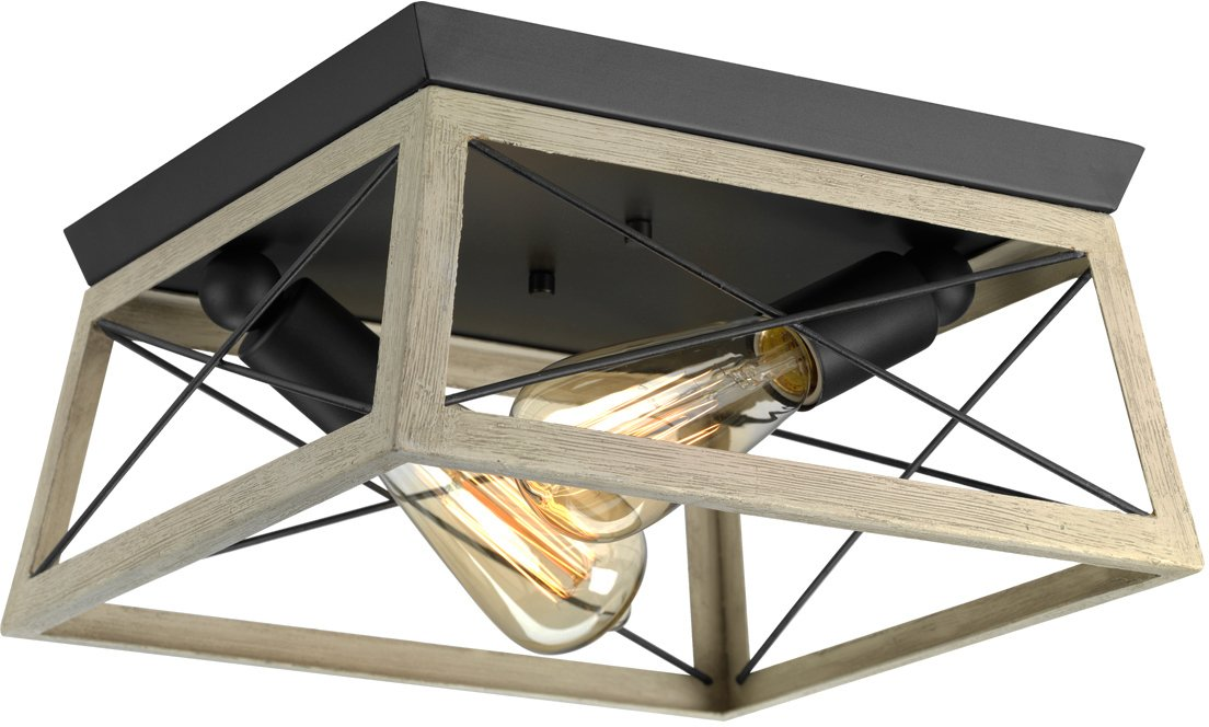 Luxury Industrial Chic Ceiling Fixture, Large Size: 6'' H x 12'' W, with Modern Farmhouse Style Elements, Charcoal Finish, UHP2121 from The Berkeley Collection by Urban Ambiance