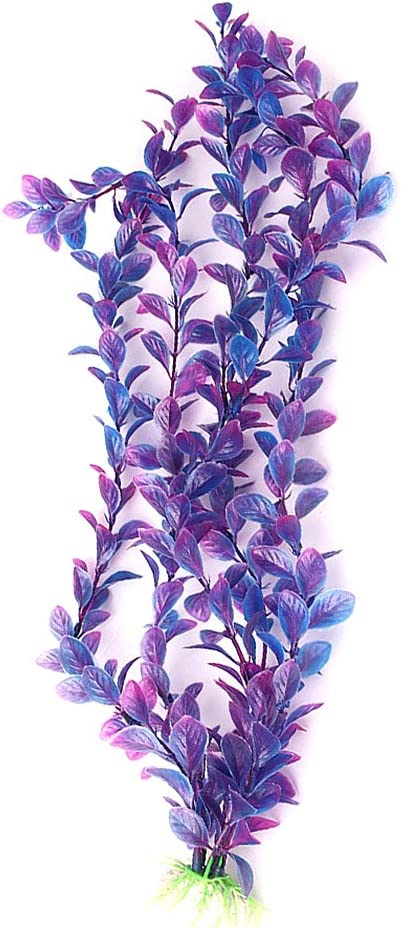 Mallofusa Artificial Aquarium Plants Decoration Plastic Water Ornament for Fish Tank Decor, 16Inch, Purple