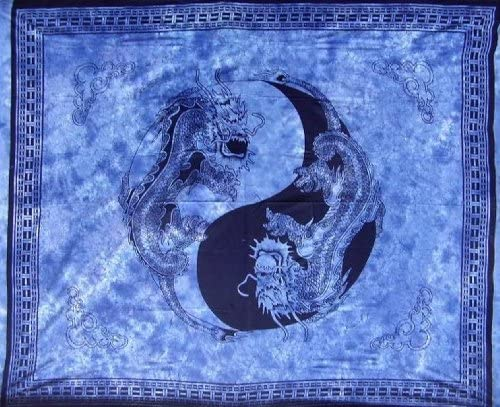 Homestead Yin Yang Dragon Tapestry Cotton Bedspread 108 x 88 Full-Queen Blue