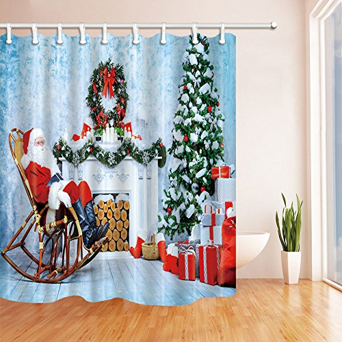 KOTOM Christmas Shower Curtains for Bathroom, Santa Claus Sitting on a Rocking Chair Beside Christmas Girfts, Polyester Fabric Waterproof Bath Curtain, Shower Curtain Hooks Included, 69X70in