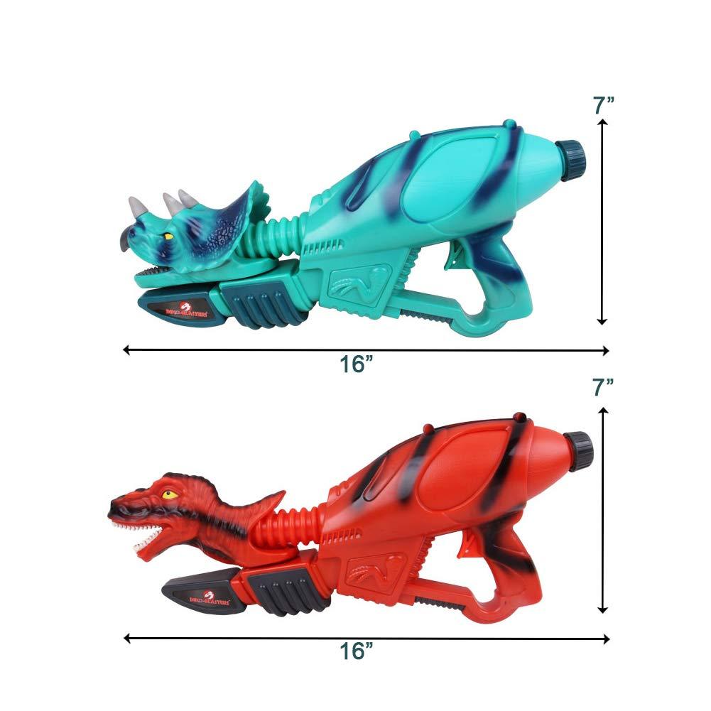 Ancaixin Dinosaur Water Gun Herrera & Triceratops Super Soaker Gun Set Summer Beach Pool Toys Big Squirt Blaster for Kids & Adults Red & Blue 2 Packs by Ancaixin (Image #6)