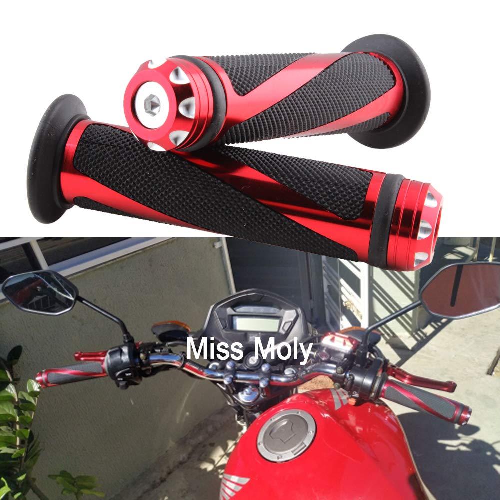 Nero Manopole moto Universale 7//8 Alluminio Motociclo Manopole