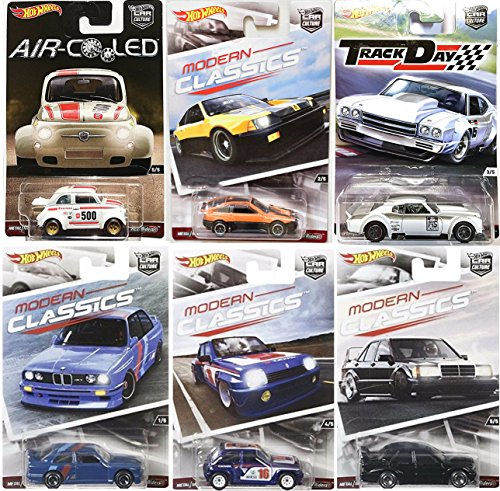 AYB Products Car Culture Collection Hot Wheels Premium Modern Classics Honda CR-X / Track Day Chevy Chevelle / Air Cooled Fiat 500 / Real Riders Mercedes Benz / Renault Turbo & BMW M3 series Bundle