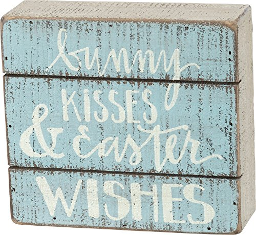 (Primitives By Kathy Bunny Kisses and Easter Wishes 5.50 Inches x 5 Inches Wood Slat Box Sign Home and Garden Decor)