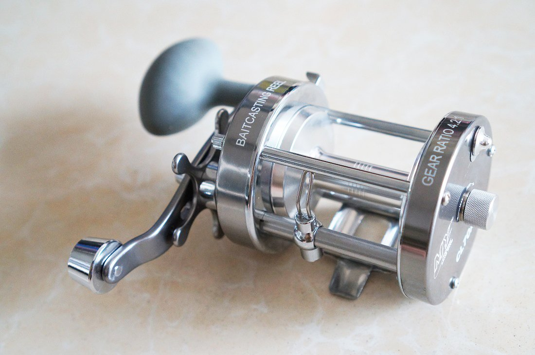 Mingyang CL70A Baitcasting Trolling Reels Fishing Tackle 2 1 BB Right handed Gear Ratio 4.2 1 Gunsmoke Color w Power Handle