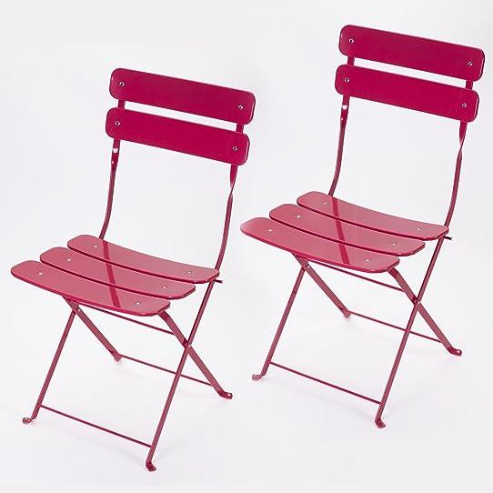 Lot de 2 chaises pliantes extérieur en métal rose Hespéride ...