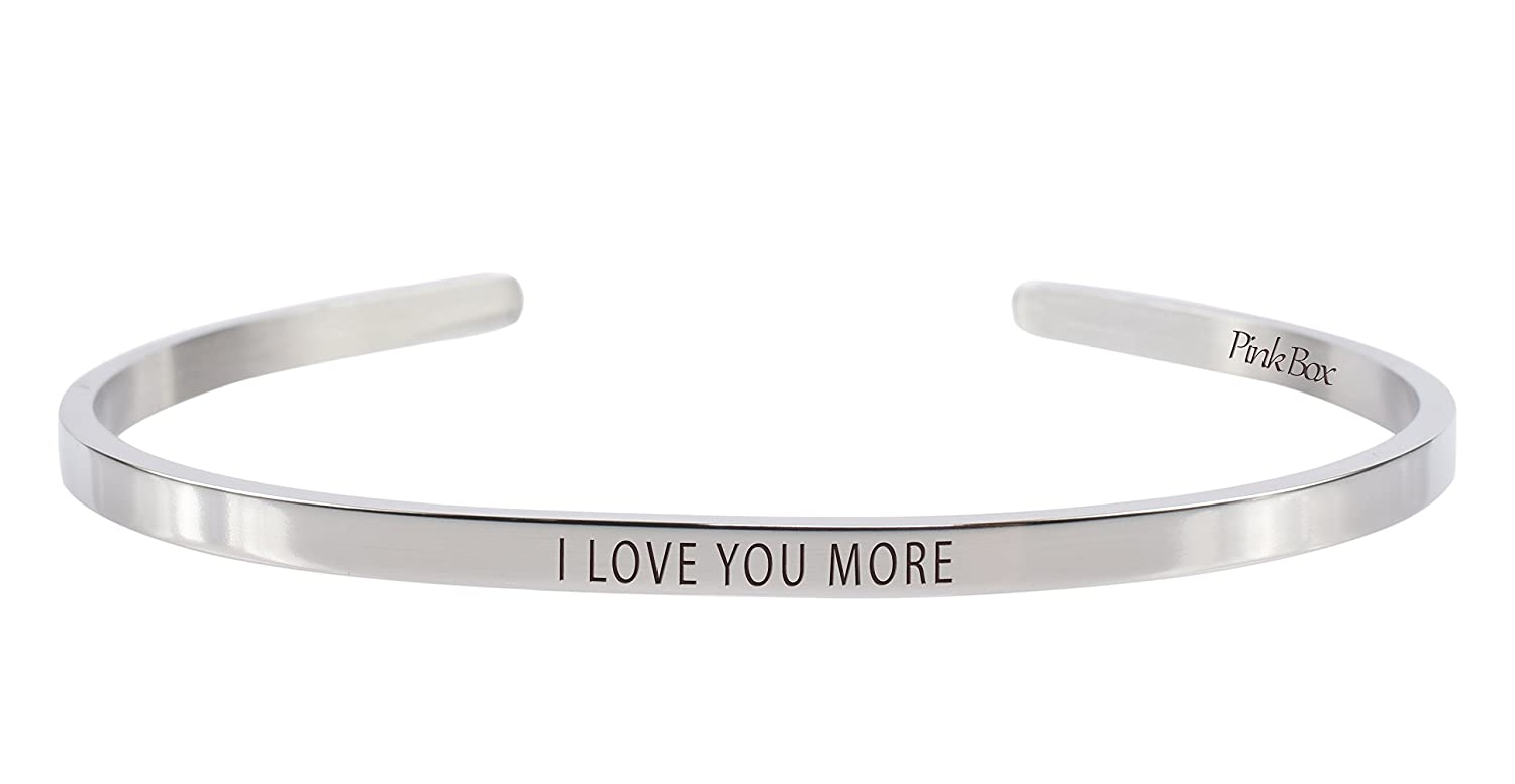 I Love You More Pink Box 3mm Solid Stainless Steel Cuff Bracelet