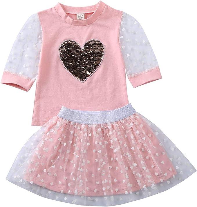 Kinder Baby Mädchen Herz Langarm T-Shirt Tops Leggings Hose Outfits Set
