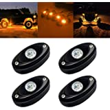 Red Yorkim 4 Pods LED Rock Lights Kit Waterproof Car Underglow Lights Neon Trail Lights for Jeep ATV SUV Offroad Car Truck Boat Underbody Glow Lights