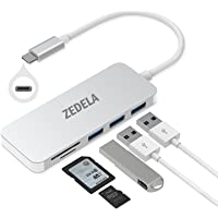 """zedela USB C HUB, Typ c Adapter mit 3 Superspeed USB 3.0 Ports, 2 SD/TF Kartenleser Ports für Type-C Computer und Tablets wie MacBook 12"""" 2015/2016/2017, MacBook Pro 2016, Google Chromebook (Silber)"""