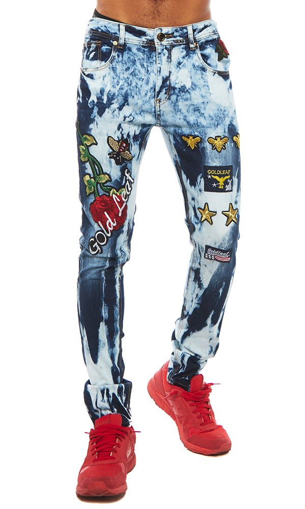 ''Stinger'' Gold Leaf Blue Jeans 40