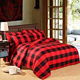 Zhiyuan 3pcs Red & Black Plaid Duvet Cover Set, Queen