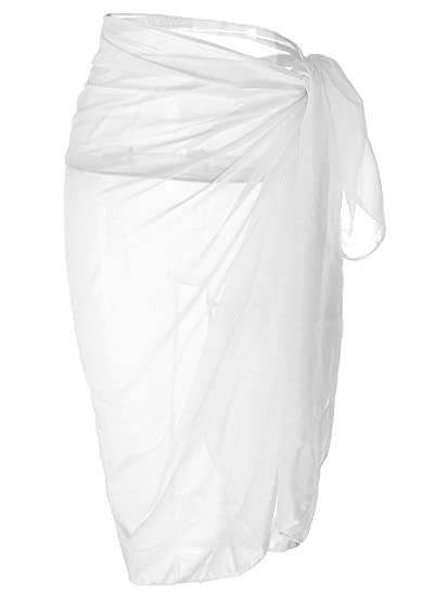 088fd446b3c71 Ayliss Womens Swimwear Chiffon Cover up Solid Color Beach Sarong Swimsuit  Wrap, White, One