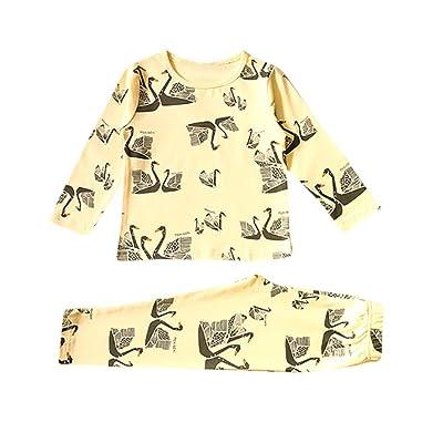 AliveGOT 2Pcs Toddler Unisex Baby Sleepwear Kids Cartoon Print Long Sleeve T-Shirt+Pants Pajama Set