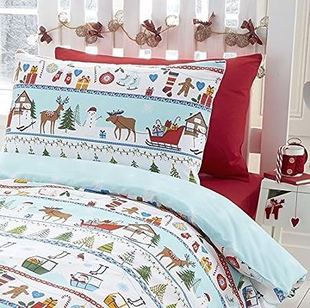 Ho Ho Ho motifs P/ère No/ël Tonys Textiles lit 1 personne Parure de lit