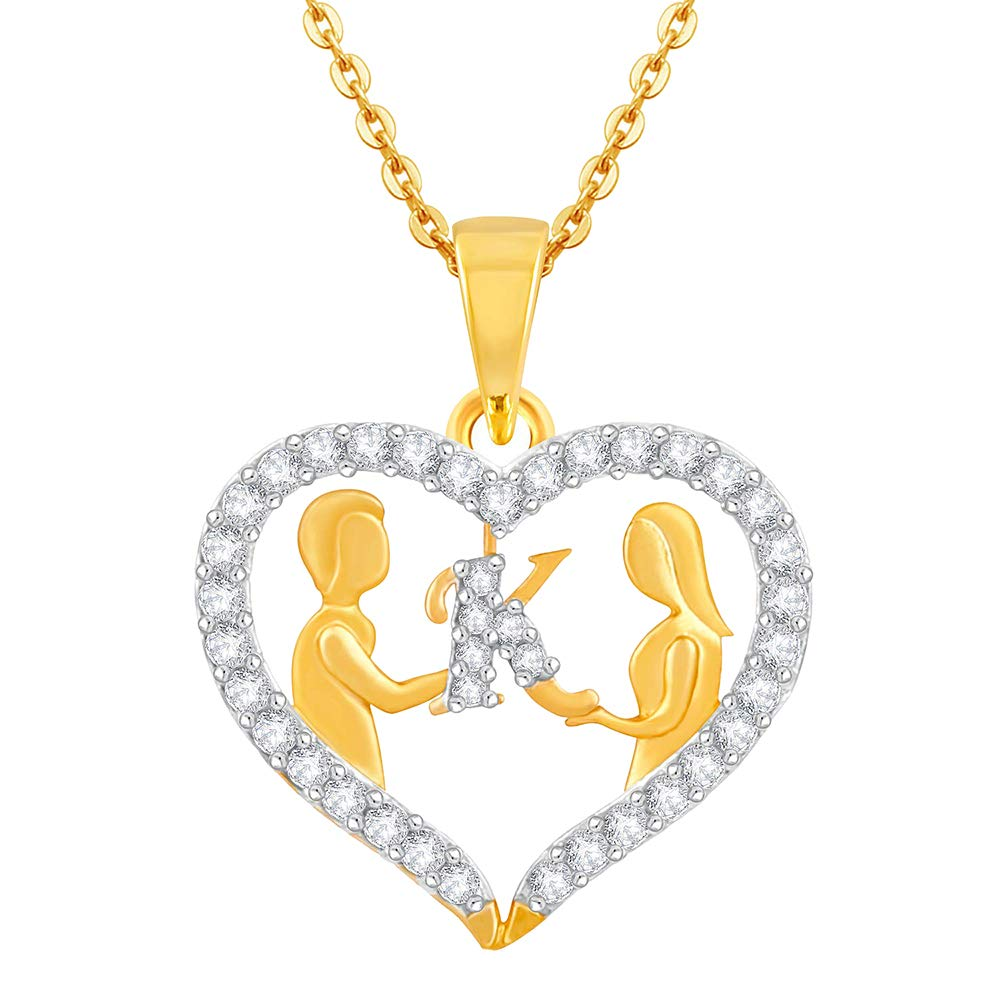 0.25Ct Round Simulated Diamond Couple HeartKLetter Pendant With 18 Chain 14k Yellow Gold Plated 925