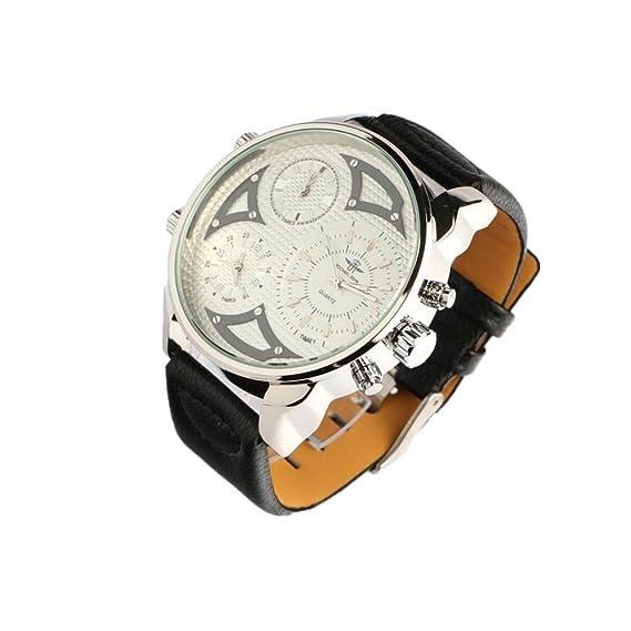 Grosse reloj hombre pulsera cuero negro Kronos – hombre