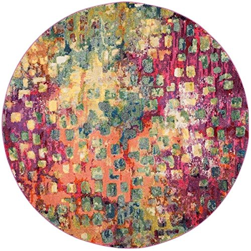 (Hawthorne Collections 5' Round Power Loomed Polypropylene Rug in Pink)