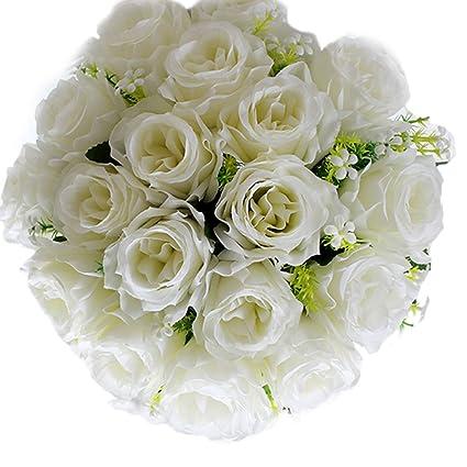 How To Make A Wedding Bouquet With Artificial Flowers.Amazon Com Enjoygous Bunch Of 18pcs Artificial Flowers Bouquet