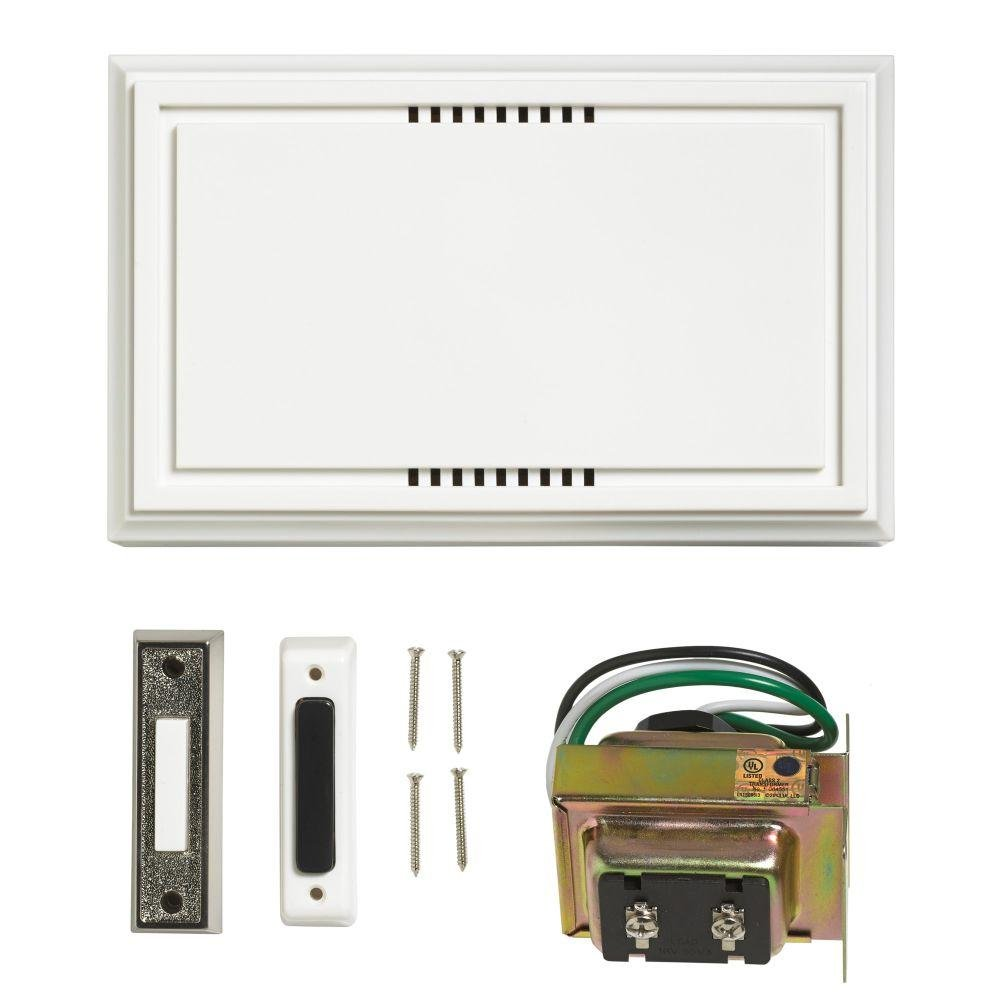 Atticus Electronics Wired Door Bell Deluxe Contractor Kit 2 Notes 85dB Includes One Brushed Nickel Lighted and One Non Lit Push Button and One UL Listed Transformer Input 120VAC Output 16VAC 10VA