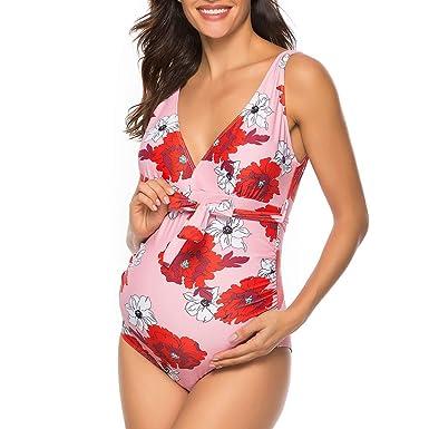 bañador Flores Mujer Maternidad Premamá Traje de baño de una ...