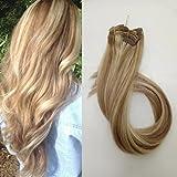 Clip en extensiones de cabello Extensiones verdaderas del pelo humano del 100% Pelo remy para mujeres 7 PCS por juego, Longitud 38cm 45cm 50cm 55cm