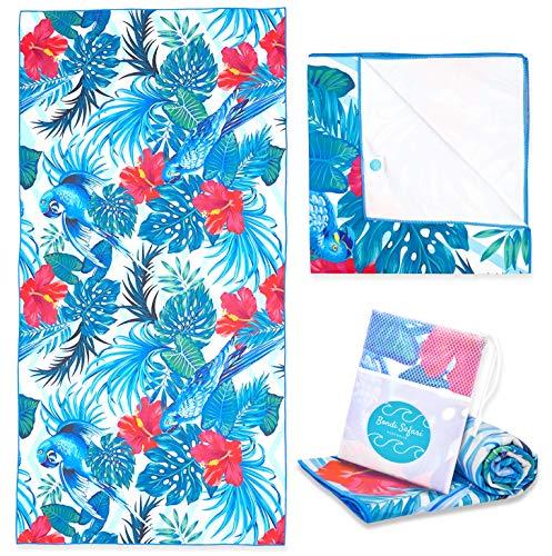 Bondi Safari Microfiber Beach Towel - Quick Dry, Sand Free, Tropical Design for Travel, Beach, Outdoor, Swimming - for Women, Travel Gift (Tropical Parrot, X-Large)